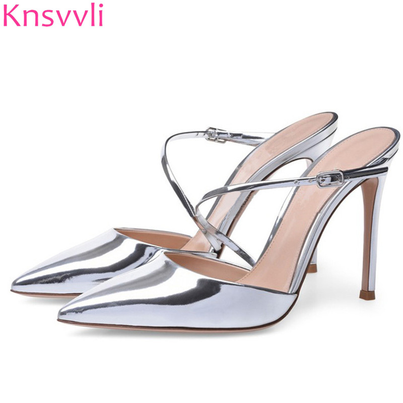 Knsvvli gold silver Patent leather sexy high heel party shoes women one word belt slingback stiletto
