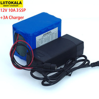 Liitokala Protection Large capacity 12 V 10ah 18650 lithium Rechargeable battery 12v 10000 mAh + 12.6 v 3A battery Charger