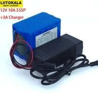 Liitokala Protection Large capacity 12 V 10ah 18650 lithium Rechargeable battery 12v 10000 mAh + 12.6 v 3A battery Charger