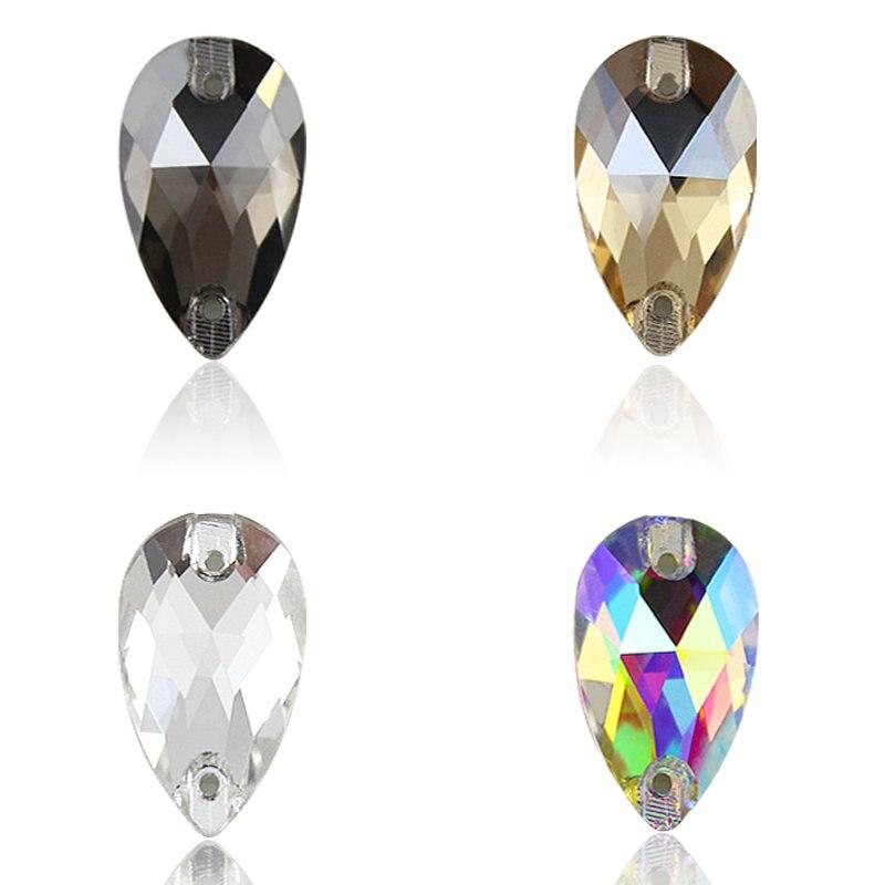 AAAAA Qualität 3 Größen Tear Drop zwei löcher nähen auf kristall strass für kleid machen, schmuck dekoration, taschen, kleid, schuhe