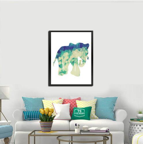 Nursery Elephant Canvas Painting Geometric Elephant Mandalas Modern ...