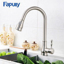 Fapully 100% Bras Kitchen Sink Faucet Brushed Nickel Mixer Tap Deck Mounted Water Tap 3 Hole Cover Plate Torneira Cozinha 155-33 стоимость