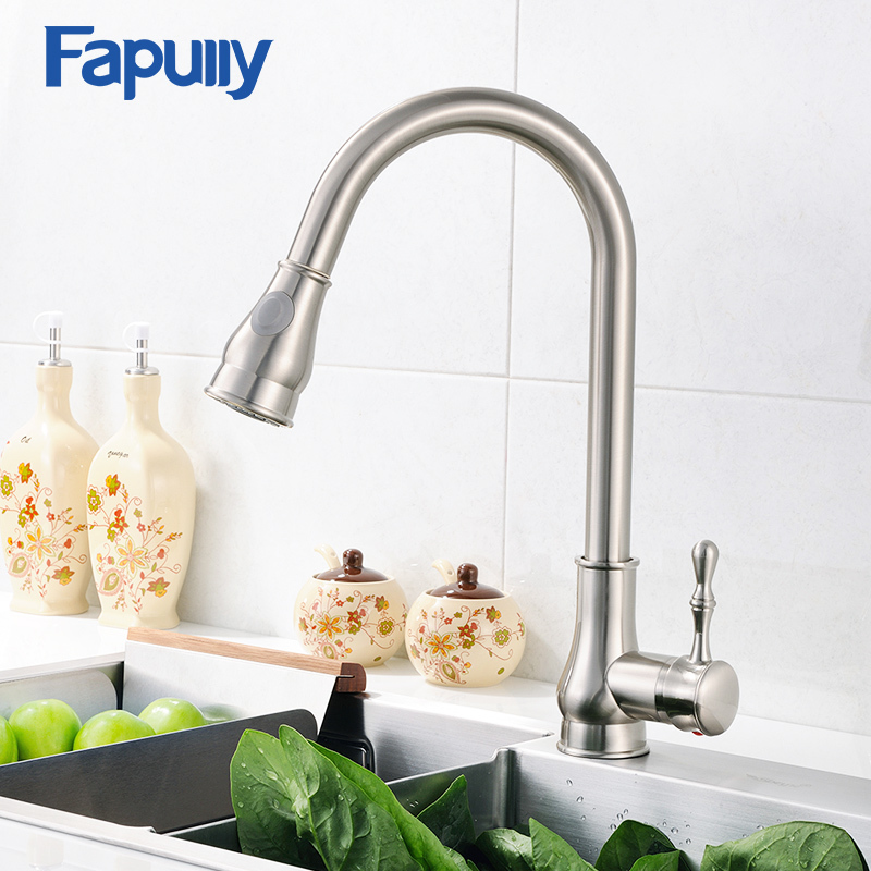 Fapully Kitchen Sink Faucet Brushed Nickel Mixer Tap Deck Mounted Water Tap 3 Hole Cover Plate Torneira Cozinha 155-33W gappo kitchen sink mixer tap kitchen faucet mixer single hole deck mounted kitchen faucets tap mixer crane torneira para cozinha