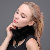 Warm Winter Scarves Collar For Women Real Knit Mink Fur Scarves Headband Female Mink Fur Collars Russian Elastic Neckerchief