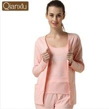 c1b9002442ec 2019 Spring Women Casual pajama sets Female V-neck Collar cardigan shirt +  tank +