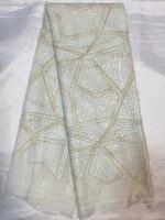 Приятные глазу Белый Вышивка торжественное платье Кружева Французский шнур чистая кружевной ткани с блестками и бисером для платье un31-5 (5 м...