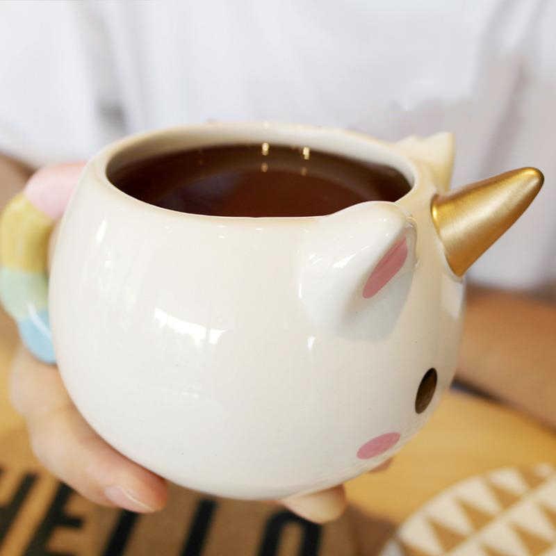 3D Licorne seramik kahve kupa bardak çocuk kız erkek sevimli yaratıcı Unicorner el-boya kupa hediye renk 350 ML karikatür Unicornio