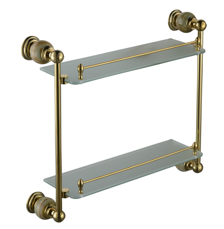 Free shiping stone & Brass Bathroom shelf double shelf Pure copper&glass,bathroom hardware CY018S free shiping copper gold paint double layer glass shelf shelving bathroom shelf bathroom shelf gb012d 1