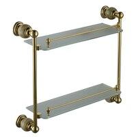 stone & Brass Bathroom shelf double shelf Pure copper&glass,bathroom hardware CY018S