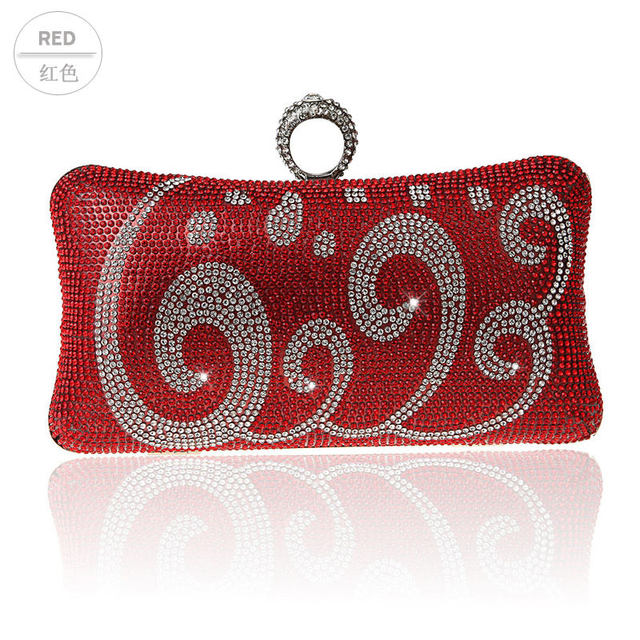 2016 Top Selling Red Evening Bag Women's Zircon Banquet Handbag Clutch Birthday Gift Party Purse Makeup Bag Mujer Bolso 03993-19