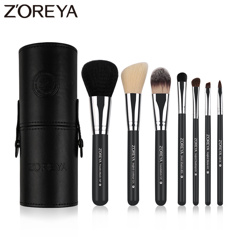 Zoreya Brand 7Pcs Black Natural Goat Hair Lip Professional Makeup Brushes Blush Powder Foundation Eye Shadow Makeup Tools