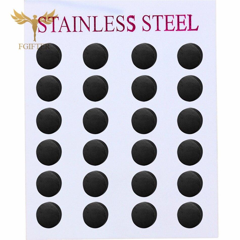 Wholesale Black Earrings Simple Stud Earring 12pairs/lot Stainless Steel Jewelry For Women Men Unisex Aretes Negros