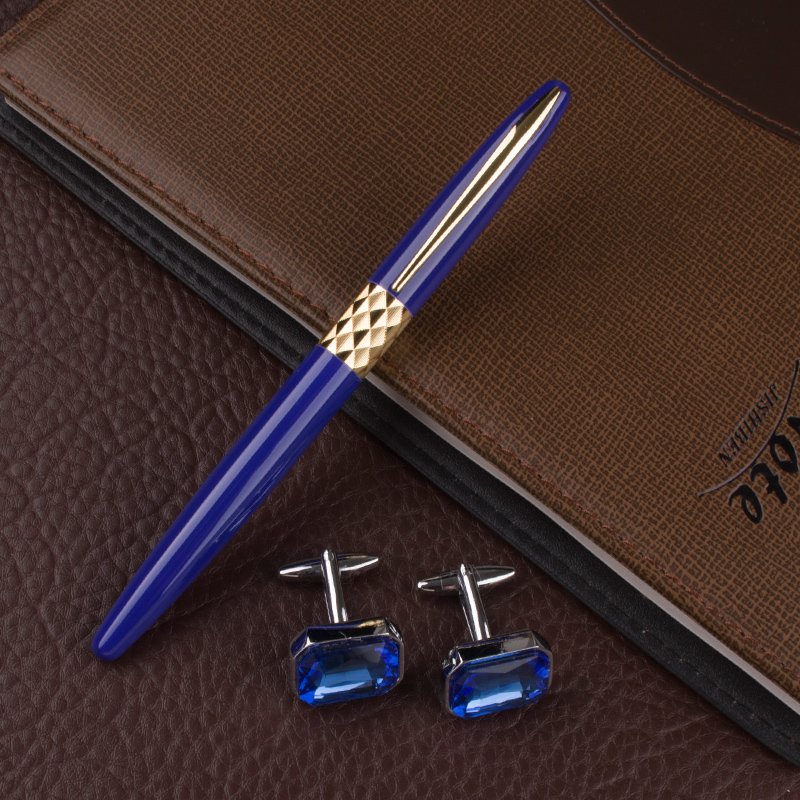 High Density Roller Ball Pen Glitter 0.7mm Luxury Golden Clip Pens Office School Supplies New Arrival + Cufflinks roller ball pen jinhao 189 noblest ancient silver medium 0 7mm nib great wall pen
