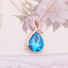 Water Drop Austrian Crystal Necklaces & Pendants Top Quality Collier Femme Teardrop Choker Necklace Jewelry 2016