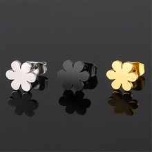 Korean fashion stainless steel flower earrings for women simple geometric gold stud earrings female hypoallergenic jewelry стоимость