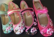 Grandes zapatos de las muchachas mary jane pequeño bordado de la flor blanca verde negro rosa zapatos tradicionales chinos de la princesa vintage zapato de baile