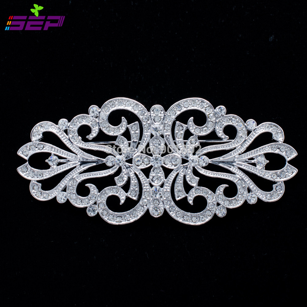 Silver Plated Flower Brooch Pins Rhinestone Crystals Broach Pins Women Brooches Jewelry Accessories Xby070