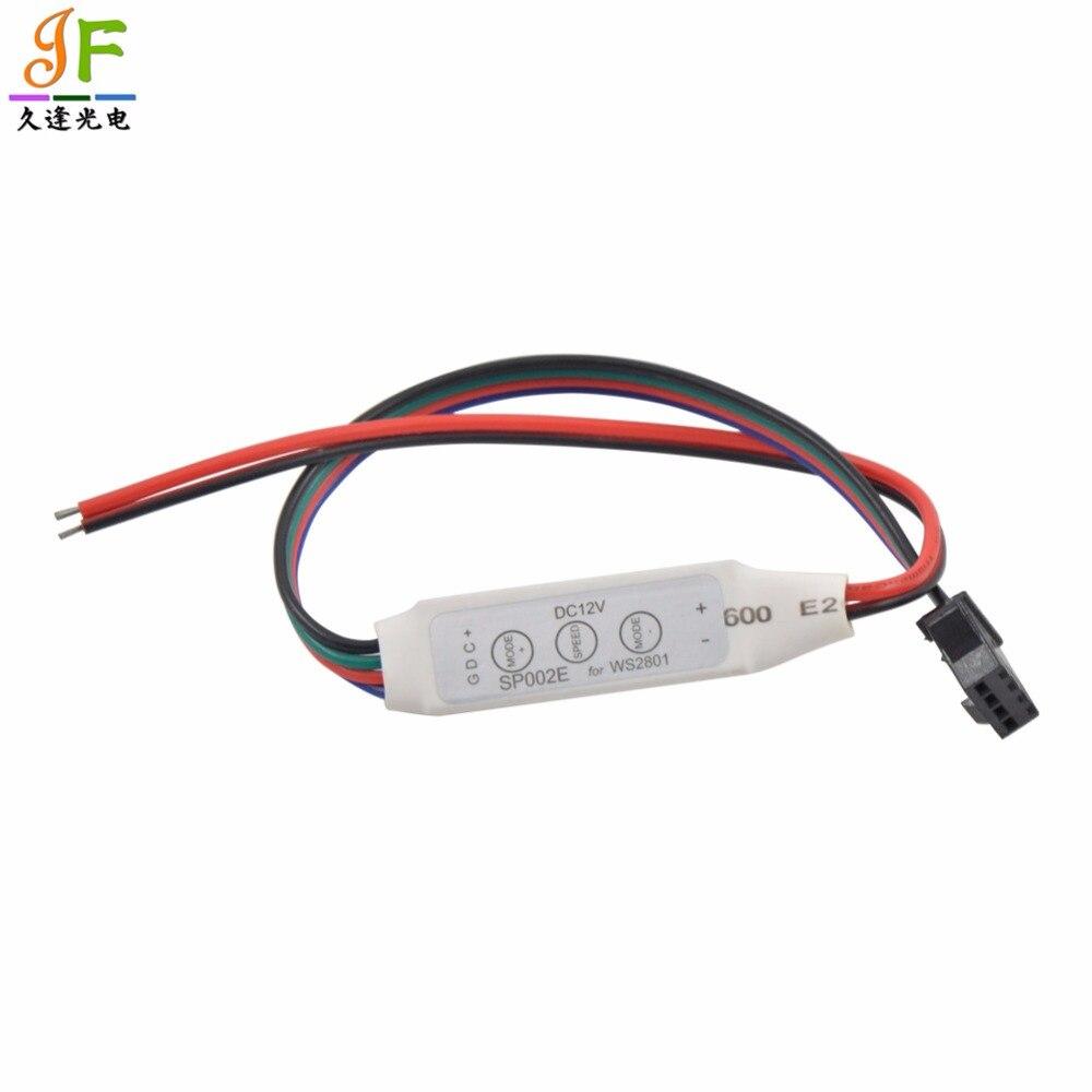 50PCS Fast shipping SP002E 3key 5-12V LED RGB UCS1903 WS2811 TM1809 APA102 Strip Module Pixel Controller red balck wire input