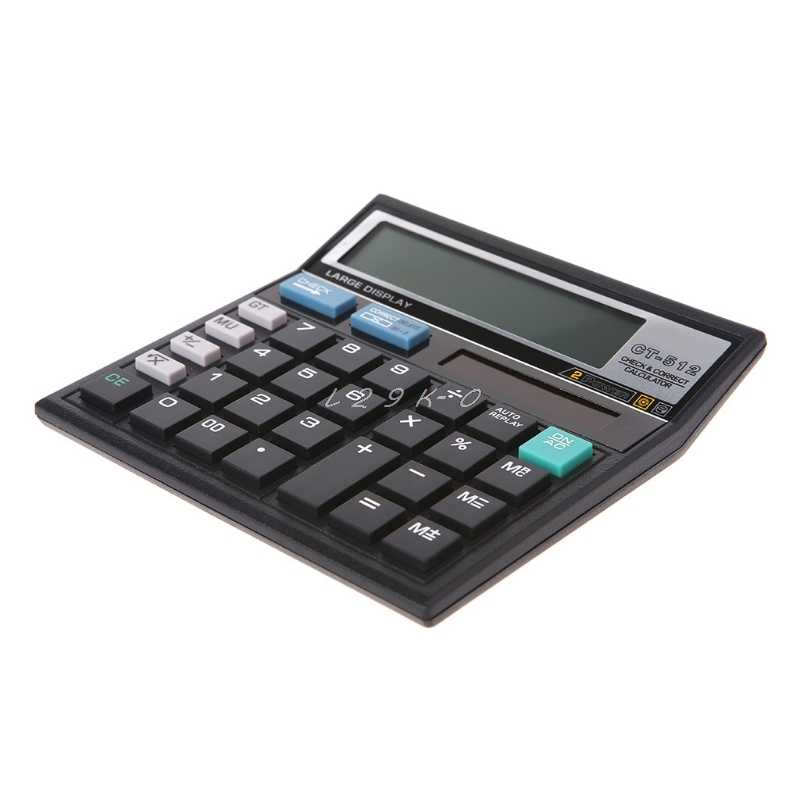 12-Digit Display Scientific Calculator Solar Battery Dual Power Large Display Office Desktop Calculator