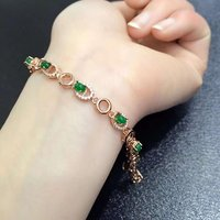 2017 New Qi Xuan_Fashion Jewelry_Colombia Green Stone Fashion Bracelets_Rose Gold Color Green Bracelet_Factory Directly Sales