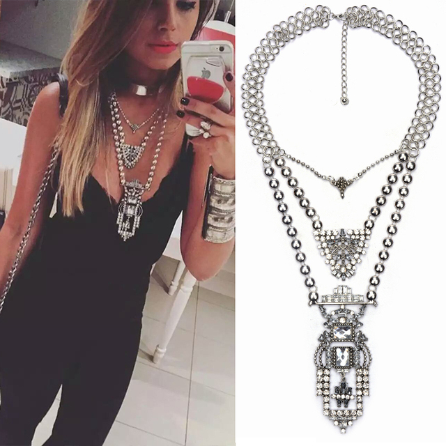 2016 New Fashion Exaggerated Vintage Necklace Women Crystal Exo Maxi Boho Choker Statement Necklaces & Pendants Collares Jewelry