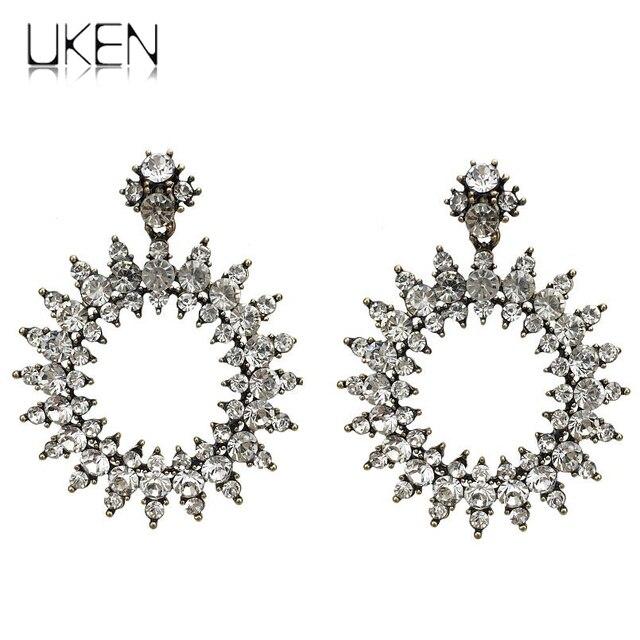 Uken Vintage Style Fashion Rhinestones Dangle Earrings For Women Circular Crystal Wedding Brincos Pennte 2018