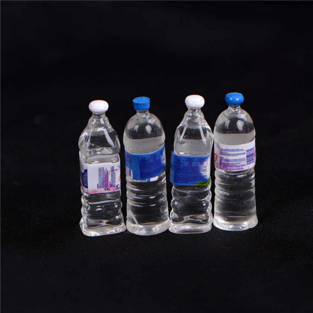 4 PCS mini Mineral water bottles Dollhouse Miniature Toy Doll Food Kitchen living room Accessories Kids Gift Pretend play toys
