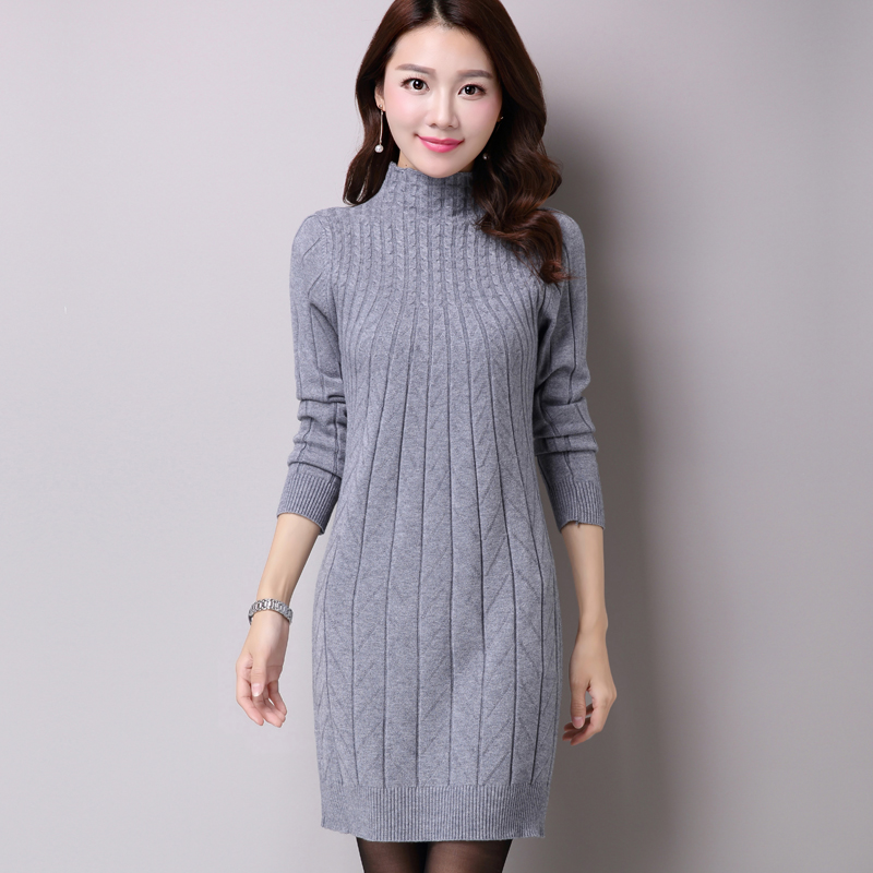 409913f41cadc 2018 Autumn Winter Women Sweater Dresses Long Knitted Wool Dress Female  Turtleneck Mini Slim Dress Woman Pullovers Clothing-in Dresses from Women's  Clothing ...