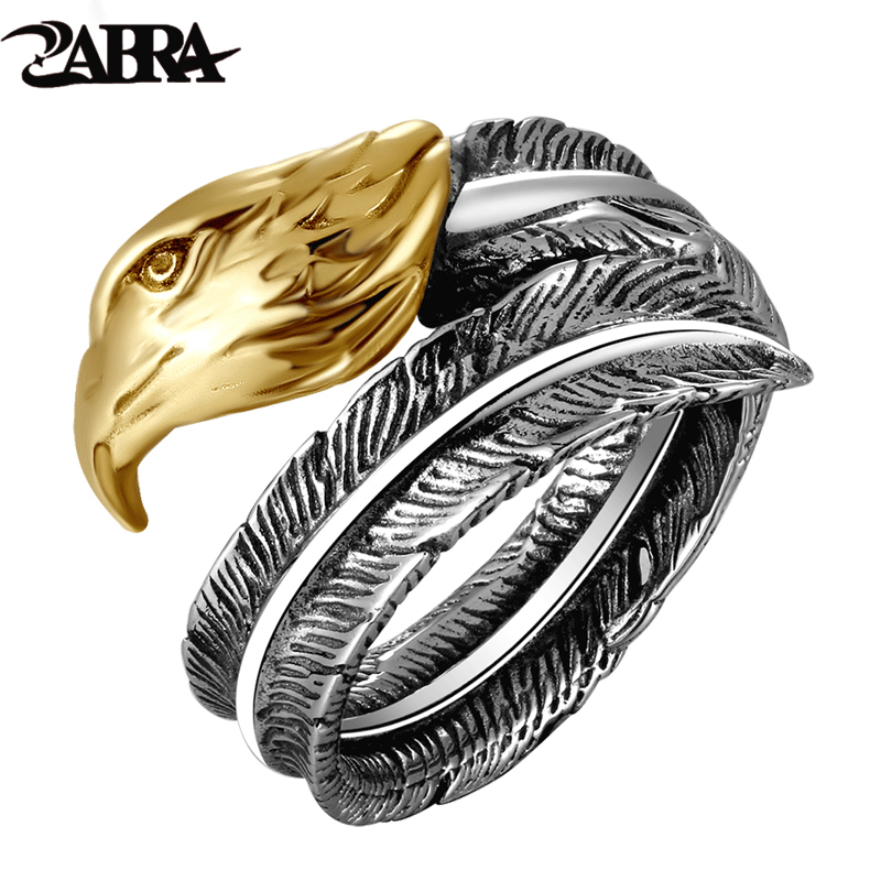 ZABRA Vintage Opening Gold Color Eagle Head Feather Ring For Men Women Steampunk Retro 925 Sterling