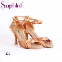 Suphini Deep tan Salsa Latin Shoes Free Shipping 8.5cm Height heel Woman Latin Dance Shoes