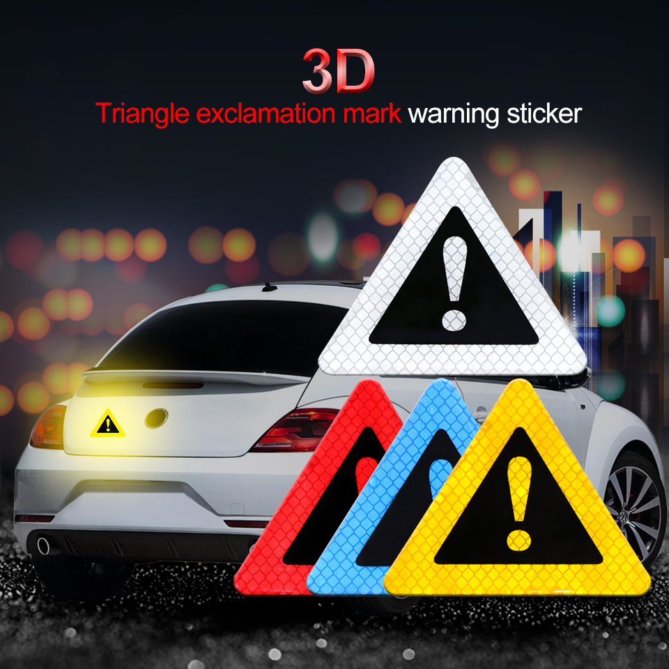Auto Triangle Warning Label Reflective Sticker Car Body Decorative Anti-collision For Motorbike Bicycle Helmet
