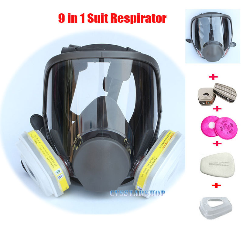 9 In 1 Painting Spraying Safety Respirator Gas Mask same For 3M 6800 Gas Mask Full Face Facepiece Respirator sjl painting spraying respirator gas mask same for 3 m 6800 gas mask full face facepiece laboratories dust mask respirator