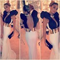 Sexy Black And white mermaid evening dresses with gold belt deep v neck backless prom dresses party gown custom made