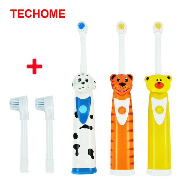 TECHOME 4 unids set higiene Oral cepillo de dientes eléctrico niños  cabezales de repuesto perro f8120ae7cd0e