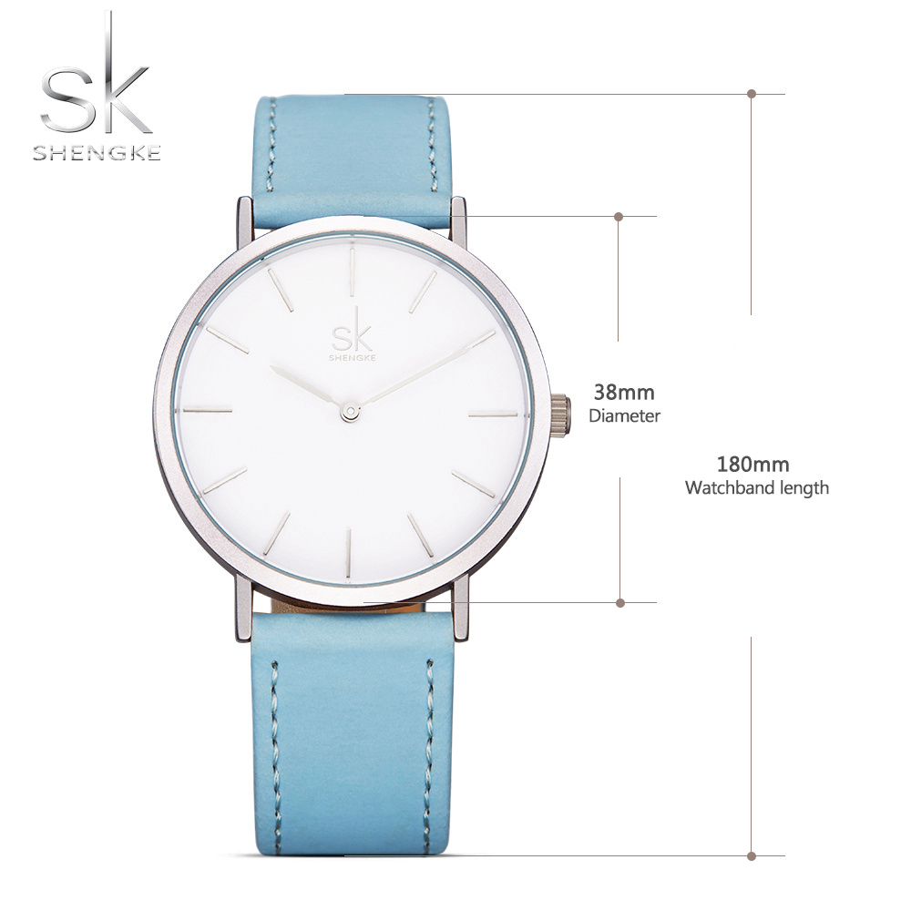 Shengke Brand New Fashion Watches Top Famous Luxury Brand Quartz Watch Women Watches Reloj Mujer Hot Clock Leather Watches SK