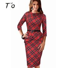 High Fashion Womens Vintage Elegant Tartan Peplum Ruched Vestidos Sleeveless Belted Office Work Casual Sheath Tunic