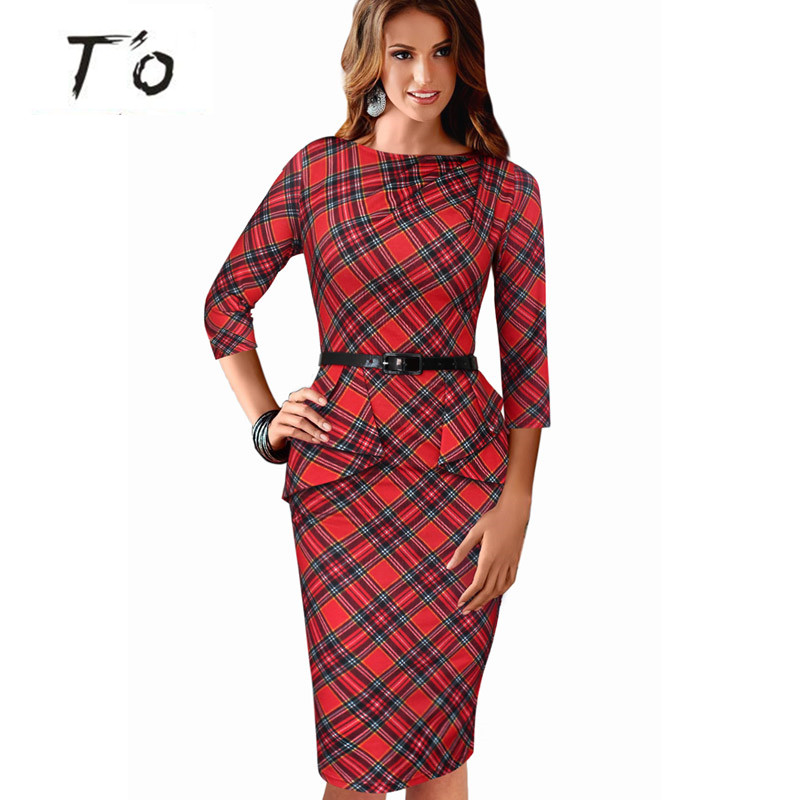 High Fashion Womens Vintage Elegant font b Tartan b font Peplum Ruched Vestidos Sleeveless Belted Office