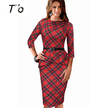 High Fashion Womens Vintage Elegant Tartan Peplum Ruched Vestidos Sleeveless Belted Office Work Casual Sheath Tunic Dress 41