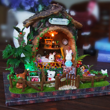 DIY 3D Wooden Building dollhouse Miniature Cute Adventure Tour with Funitures Toys For MM/GG Festival Handmade Creative Gifts