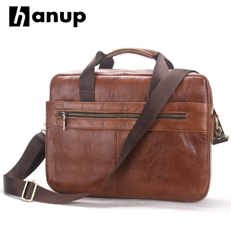 2017 Fashion Genuine Leather Men Briefcase Cowhide Men's Messenger Bags 14 Laptop Business Bag Luxury Lawyer Handbags купить