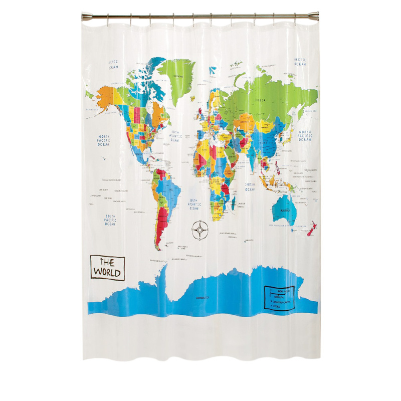 Polyester The World Map Design Bathroom Shower Curtain With 12 Hooks  Bathrooms Accessories Infant Education 180