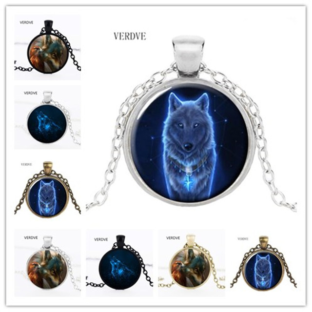 Free Shipping Wholesale New Nymph Wolf Necklace Glass Pendant Glass Jewelry Phot