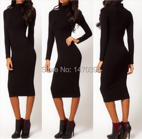 2014 fashion lady long sleeve turtle neck slim stretch