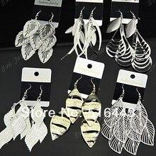 Новое поступление 12 пар Mix Мода Посеребренная Матовый Талисманы листья Висячие серьги для Для женщин Ювелирные Много