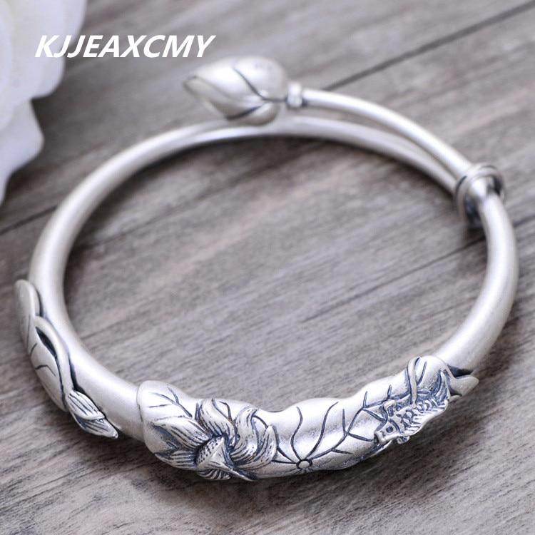 KJJEAXCMY S999 sterling silver jewelry retro vintage frosted carp lotus embossed figure Ladies Bracelet
