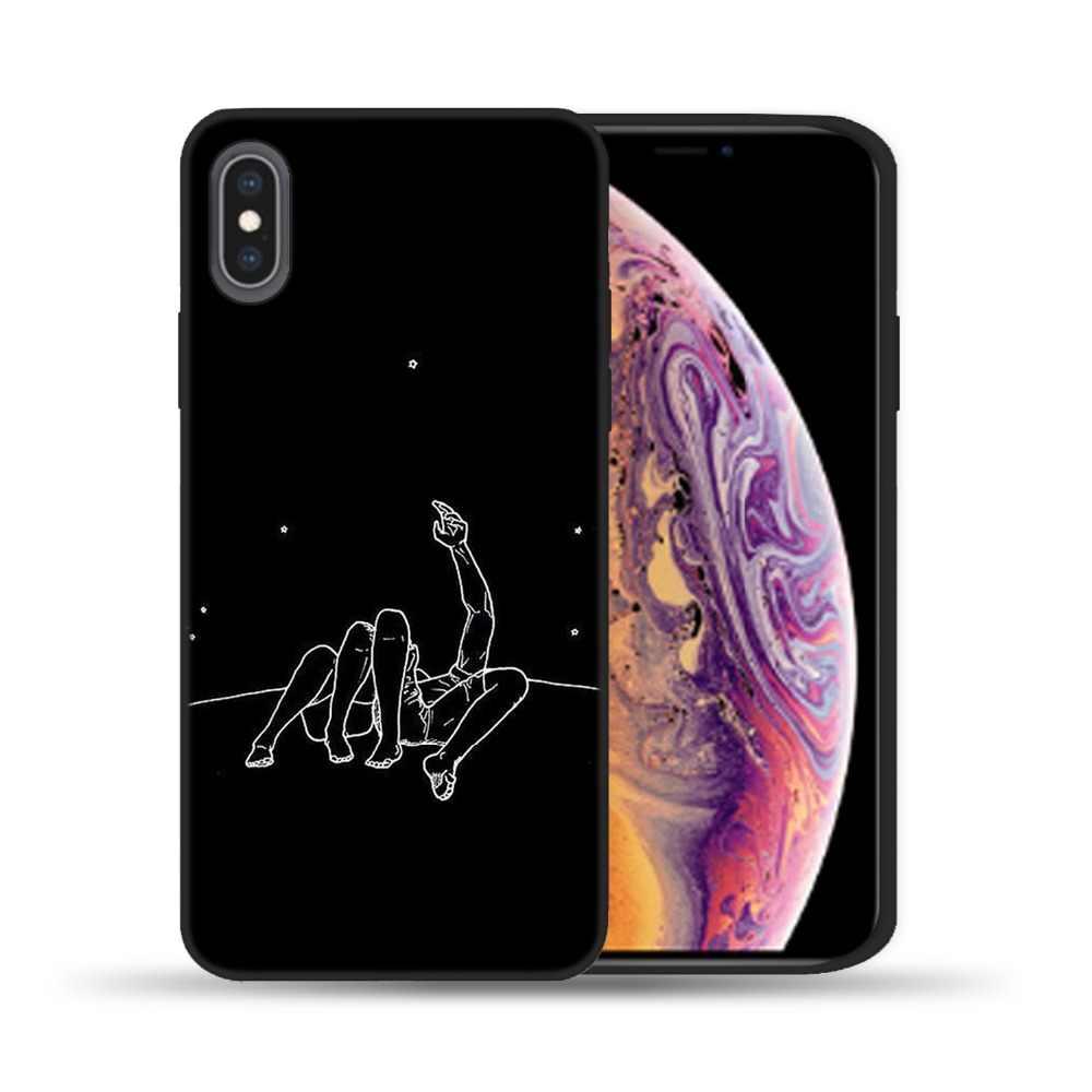 Silikon kapak çift iphone için kılıf X 6 6S 7 8 artı 5 5S SE sevgilisi bitki karikatür telefon arka iphone kılıfları 11 Pro XS Max XR