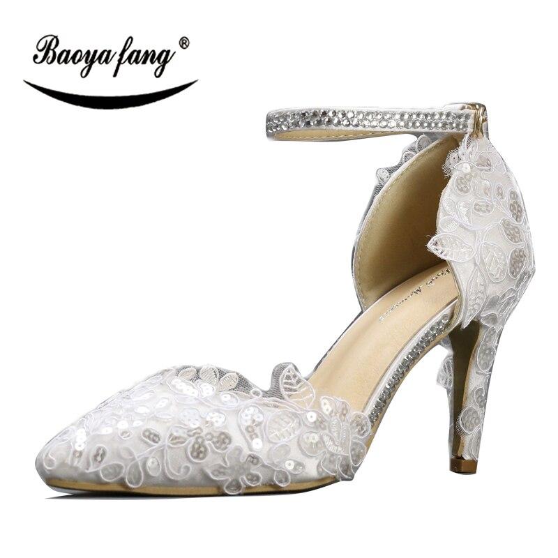 Белые кружева лодыжки ремень обувь женщина тонкий каблук острым носом женские свадебные туфли ремень дамы платье партии обувь насосы высокого