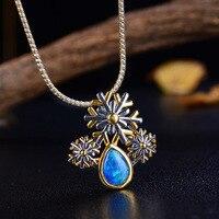 Естественная капля в форме голубой опал S925 Стерлинговый Серебряный декор драгоценный камень творческий орнамент из снежинок кулон ювелирн