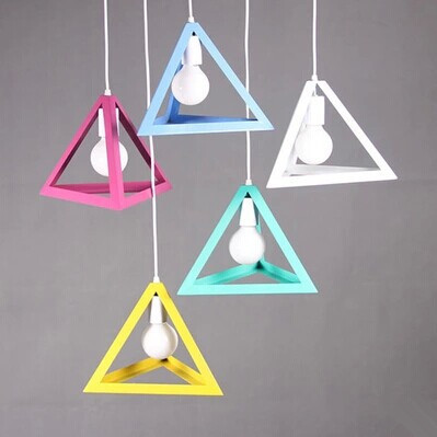 Colorized America industrial triangle loft metal LED Pendant Light,For dining room balcony corridor study,1 Light Bulb Included