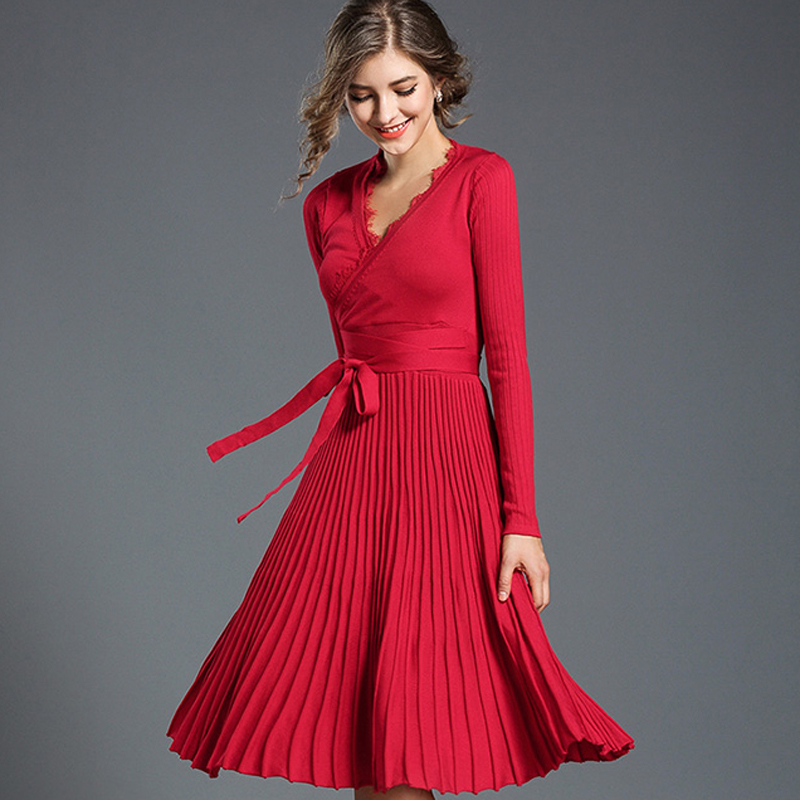 Women Knitted Knee-Length Elegant Dress 2018 Fashion Sexy V-Neck Long Sleeve Autumn Winter Pleated Office Dresses Party Vestidos